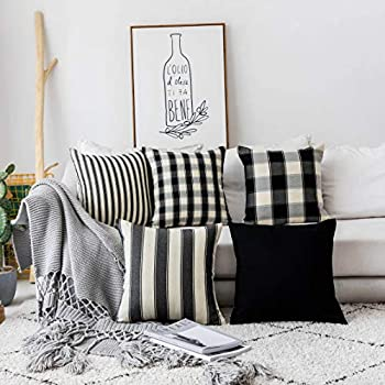 Home Brilliant Winter Decorations Pillows Covers Set Black and White Throw Pillow Covers Textured Linen Cushion Covers for Sofa Solid Stripes Checker Plaid, Set of 5, 18 x18 inches (45cm)