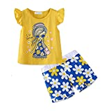 Mud Kingdom Toddler Girls Short Sets Summer Holiday Daisy Flower Outfits 4T