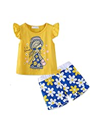 Mud Kingdom Little Girls Short Sets Summer Holiday Daisy Flower Outfits