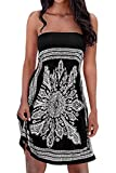 Womens Strapless Floral Print Bohemian Casual Mini Beach Dress