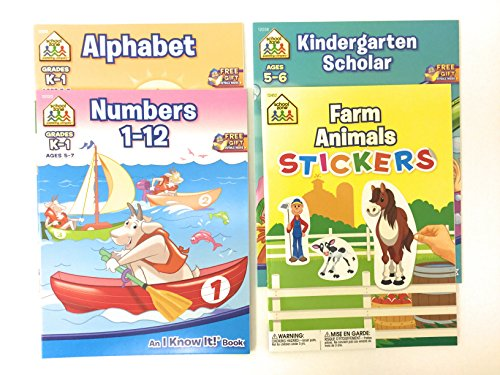 School Zone Kindergarten K-1 Educational Workbooks - Alphabet, Numbers, Scholar and Farm Animals Sticker Book - Learning Activities for Review, Reinforcement and Fun! Bundle Set of 4