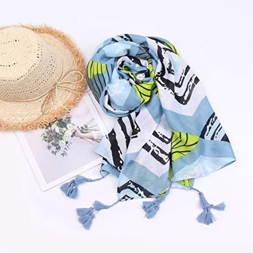 Boomdan Women Sleeve Stripe Print Scarf Shawls Wraps Lightweight Floral Pattern Satin for Headscarf&Neck (Blue) by Boomdan (Image #4)