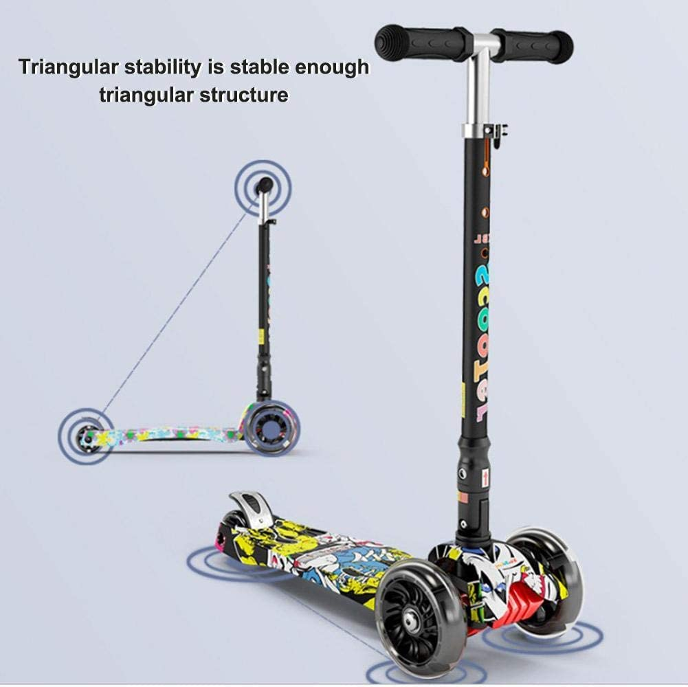 Maliyaw Multi-function Folding Scooter with Music Graffiti Three-wheel Flash scooters for Children