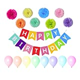 CUXUS Birthday Decorations, Happy Birthday Party Themes with Happy Birthday Banner,Tissue Flowers and Latex Balloons for Adults and Kids(Colorful)