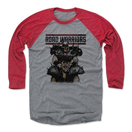 500 LEVEL's Road Warriors 3/4th Sleeve Baseball T-Shirt XL Red/Heather Gray - Road Warriors Sketch K - Officially Licensed by Pro Wrestling Tees by 500 LEVEL