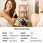 KIPOZI-Asciugacapelli-Ionico-2200W-Phone-per-Capelli-Professionale-con-Diffusore-e-Concentratore-Leggero-Silenzioso-2-Velocit-e-3-Impostazioni-di-Calore