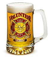 Beer Mugs with Handles – Volunteer Firefighter 25 oz Tankard Beer Mug – Firefighter Gifts for Men or Women – Beer Glass with Logo (25 Ounces)