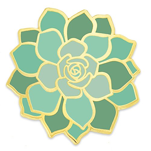 PinMart Green Succulent Flower Trendy Enamel Lapel - Enamel Green Flower Brooch