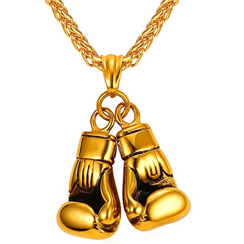 (U7 Personalized Boxing Gloves Necklace 18K Gold Plated Pendant & Chain Men Fashion Jewelry)