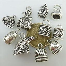 10pcs Mix Vintage Eagle Head Leaves Dragon Head Heart Beads Cap Tassels Cap Pendant
