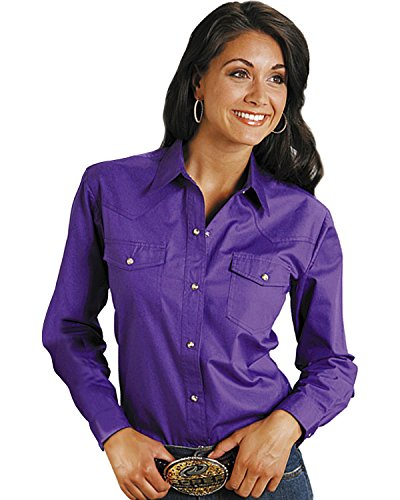 Roper Women's Amarillo Solid Pearl Snap Western Shirt Purple Medium Ladies Western Shirt