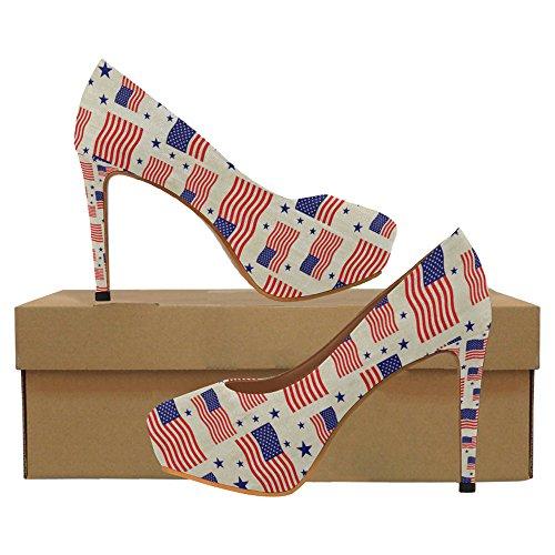 InterestPrint Blue Zebra Stripes Womens Sexy High Heels Pump Shoes Flag of the Usa Pattern
