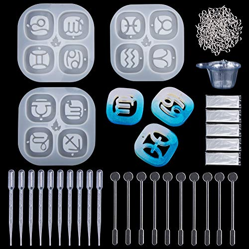 Resin Casting Molds, 143 Pcs Jewelry Casting Making Molds Set Kit,Silicone Constellation Shape Paperweight Pendant,Screw Eye Pins,Disposable Plastic Cups,Stirrers,Droppers,Disposable Gloves