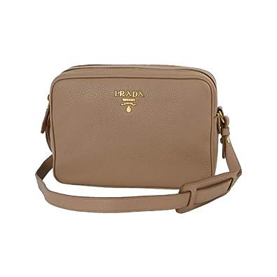 cc9be3e13362 Prada Women s Beige Vitello Phenix Leather Crossbody Hand Bag 1BH079   Handbags  Amazon.com