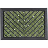 Dandy 65 x 45 cm Heavy Weight Flocked Surface Outdoor Rubber Scraper Mat, Green by Dandy