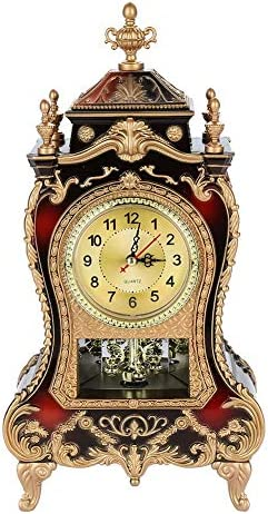 Table Clock, Vintage Style Plastic Table Clock Antique Home Hotel Decorative Desk Alarm Clocks Brownish Red