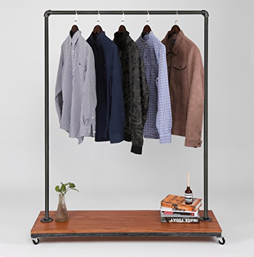 Industrial Pipe Clothing Rack Garment Rack Pipeline Vintage Rolling Rack with wheels SUPERIOR QUALITY Heavy Duty Clothes Rail Garment Rail on wheels by FOF