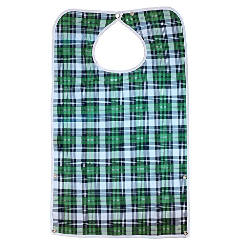 MagiDeal Waterproof Detachable Bib Adult Mealtime Cloth Protector Disability Aid Apron - Green grid
