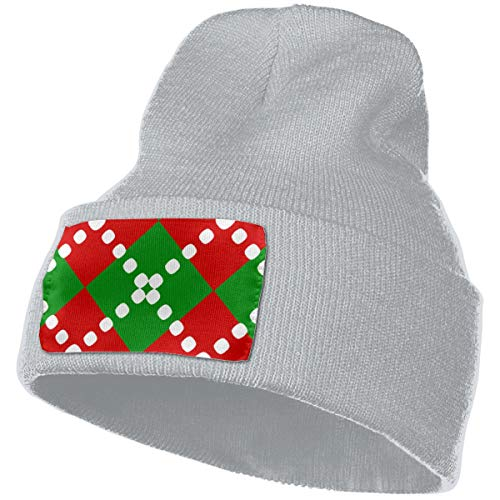 YOOJPC-6 Unisex Argyle Christmas Colors Knit Hat Beanie Skull Caps for Winter Ski Hat Gray