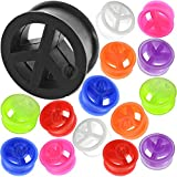 ONSALE !! Pair of 4mm to 24mm silicone peace flesh tunnels ear plug MoDTanOiz