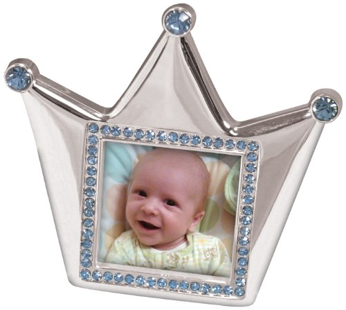 Prince Frame Blue (Stephan Baby Royalty Collection Keepsake Silver Plated Frame, Little Prince Crown)