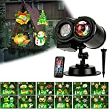 Holiday Light Projector, Christmas Decoration Projector Lights Ocean Wave LED Night Light with 12 Slides 10 Colors Patterns, Waterproof Outdoor Indoor Landscape for Theme Party Yard Garden Decor