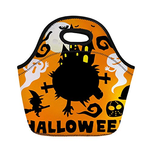 Semtomn Lunch Bags Autumn Black Ghost Happy Halloween Cute Cartoon Comic Colorful Neoprene Lunch Bag Lunchbox Tote Bag Portable Picnic Bag Cooler -