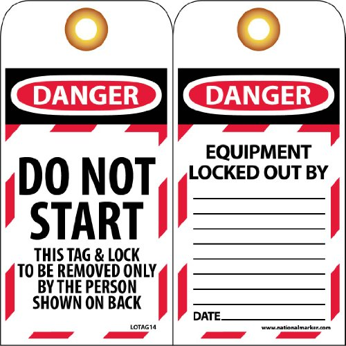 """NMC LOTAG14 Lockout Tag, """"DANGER DO NOT START. . ."""", 3"""" Width x 6"""" Height, Unrippable Vinyl, Red/Black on White (Pack of 10) from NMC"""