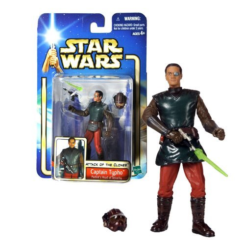 "Hasbro Year 2002 Star Wars Collection 1 ""Attack of the Clones"" 4 Inch Tall Action Figure #09 - Padme's Head of Security CAPTAIN TYPHO with Blaster Pistol, Removable Helmet and Blaster Effect"