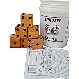 YARDZEE FARKLE Huge Big Giant Outdoor Yard Dice Game Solid Cedar (Bucket & Lid)