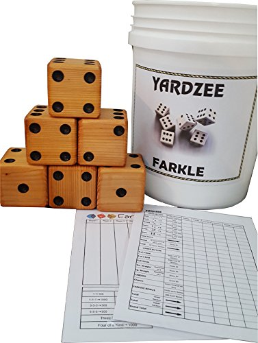 YARDZEE FARKLE Huge Big Giant Outdoor Yard Dice Game Solid Cedar (Bucket & Lid)