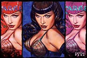 bettie page color - bettie page triptych in color art poster
