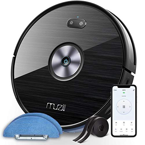 Wi-Fi Robot Vacuums, Muzili Robotic Vacuum Cleaner and Mop, 2-in-1 Robot, 120min Runtime with 1500pa Suction, Quiet 55dB Noise, 2 Boundary Strips, Self-Charging and Resumption for Hard Floors, Carpets