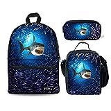 HUGS IDEA 3D Shark Backpack Set Boys Blue School Book Bag Lunch Bags Pencil Case 3 in 1