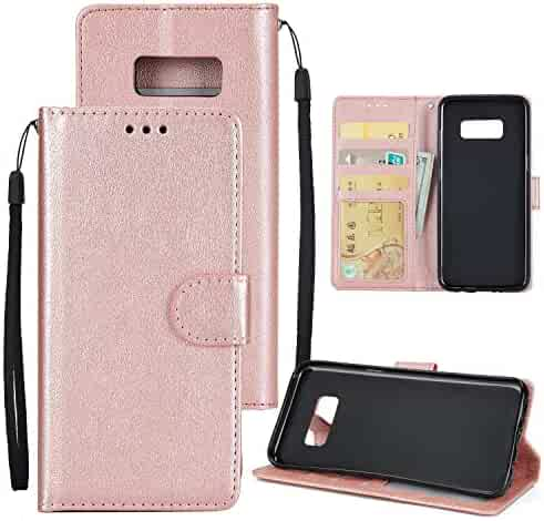 ba2e8a59b OCCIENTEC Galaxy s8 Wallet Case Phone Holder with Wristlet Card Holder  Magnetic Flip Built in ID&Card