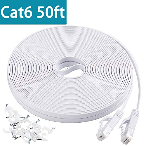 Cat6 Flat Ethernet Cable, 50 FT Computer LAN Internet Network Cable, Patch Cord with Clips w/Snagless Rj45 Connectors for PS4, Xbox one, Switch, IP Cameras, Modem, Printers, Router White (15 Meters)