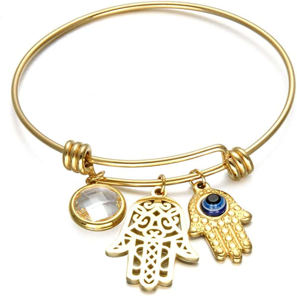 good luck 1 x Evil eye bracelet evil eye charm bracelet Fatima Hand rhinestones bracelet PBR229 max length 25cm Hamsa bracelet