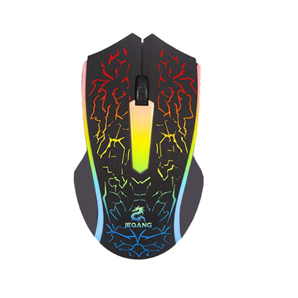 2-Button Colorful Breathing Light 800//1200//1600//2000dpi Ergonomic Design for Gamer Laptops Game Mice,Deep Crack Design AcisuHu RBG Gaming Wired Mouse-