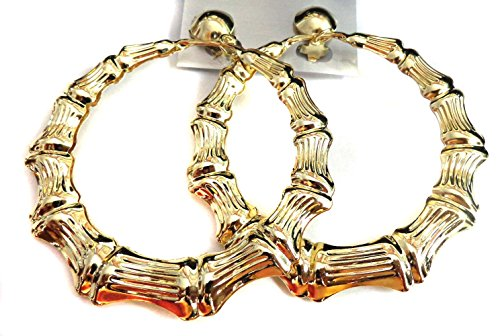 Clip on Bamboo Hoop Earrings Clip Hoop Earrings Gold or Silver tone 3 inch Hoops (gold) (Gold)