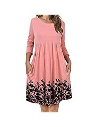 XILALU Women's T Shirt Dress with Pockets Long Sleeve Floral Pleated Swing Dress