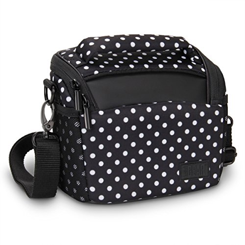 USA GEAR Bridge Camera Bag (Polka Dot) with Protective Neoprene Material, Rain Cover and Adjustable Dividers - Compatible with Nikon Coolpix, Canon PowerShot, Sony Cyber-Shot, Panasonic Lumix and More