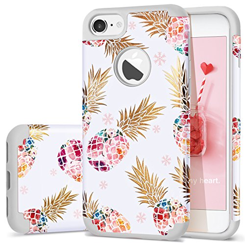iPhone 7 Case,iPhone 8 Case,Fingic Slim Pineapple Floral Pattern Case Anti-Scratch&Slip Cover Hard PC Soft Rubber Silicone Cover Case for iPhone 8 / iPhone 7 4.7,Flower Pineapple/Grey