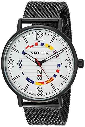 - Nautica N83 Men's NAPWGS904 Wave Garden Black/White Stainless Steel Mesh Band Watch
