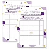 Purple and Gold Baby Shower Bingo Game Card Set of 25