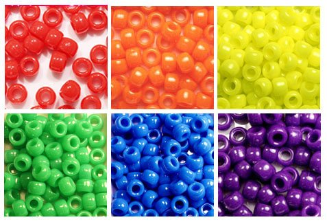 Bright Neon Colors Multicolor Plastic Craft Pony Beads Kit 6 x 9mm, 6 Bags Variety Pack, 6 Colors - 780 Grams (About 3000 Beads)