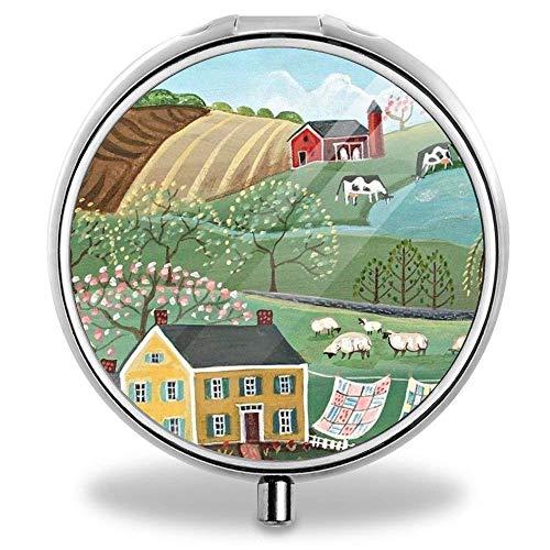 - Silver Pill Box Pocket Medicine Tablet Holder Pill Decorative Case Wallet - Folk Art Landscapes
