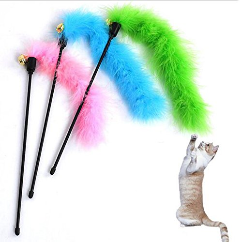 LPET Feather Wand Cat Toy Interactive Cat Scratcher Fire Feather Plaything Guaranteed To Drive Your Cat Wild (Discount Feather Boas)