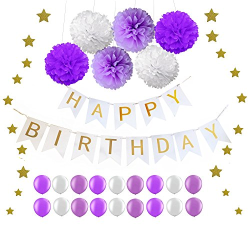 """Elecrainbow One-stop Shopping for Purple Birthday Party Decoration Kit: """"Happy Birthday"""" Swallowtail Banner, 15g Sparkly Star Confettis, 6 pcs Tissue Pom Poms Flower, 18 pcs Shining Balloons"""
