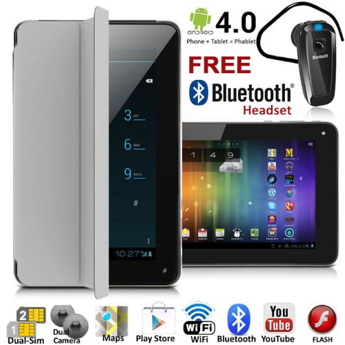 UNLOCKED! 7'' Android 4.4 GSM Dual-Sim Tablet Phone 3G Smartphone >Built-inSmart Cover+Bluetooth< by inDigi
