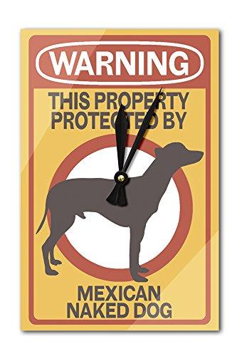 Mexican Naked Dog - Warning (Acrylic Wall Clock) by Lantern Press